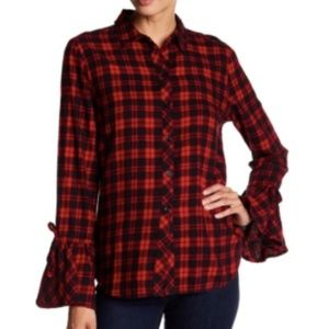 Beachlunchlounge Plaid Top Bell Sleeves
